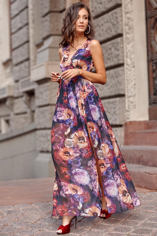 Fioletowa kwiatowa sukienka V-Neck maxi Christelle 1