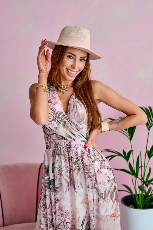 Jasnoróżowa kwiatowa sukienka V-Neck maxi Christelle 2