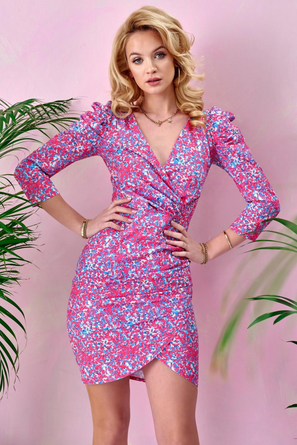 Różowa kwiatowa kopertowa sukienka V-Neck Dalila 1