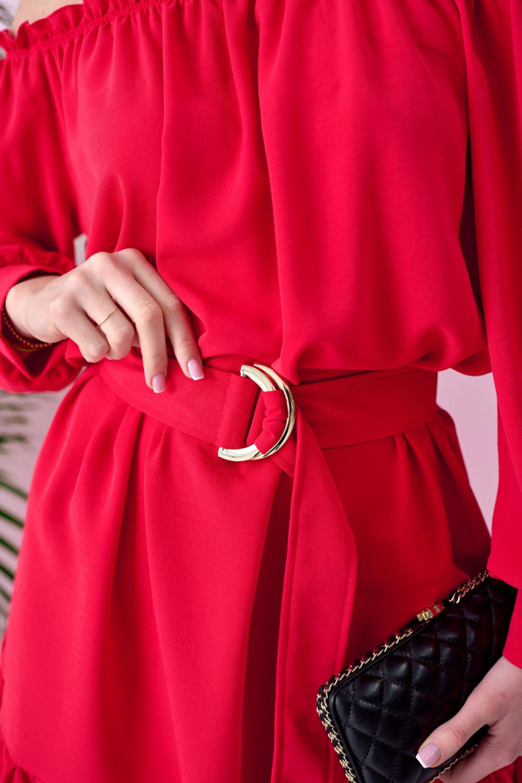 Czerwona sukienka hiszpanka z falbankami i paskiem Claire 2