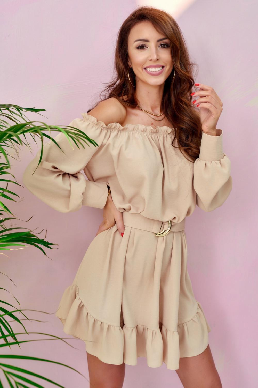Beżowa sukienka hiszpanka z falbankami i paskiem Claire 1