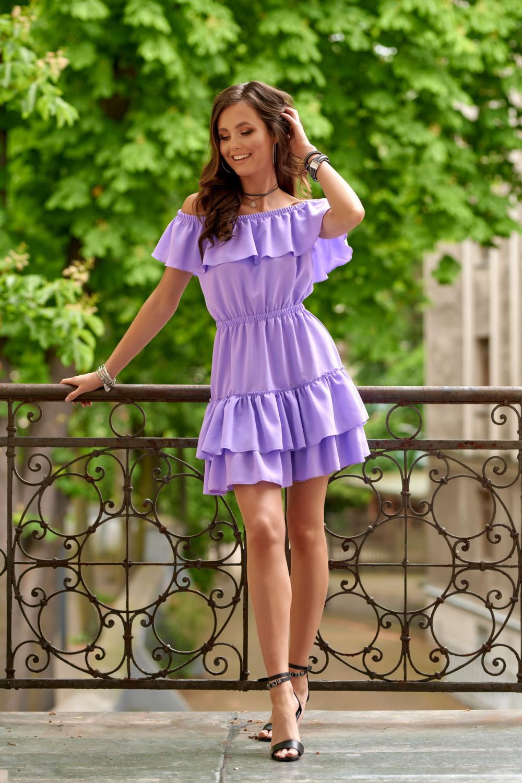 Fioletowa sukienka hiszpanka z falbanką Emy 2