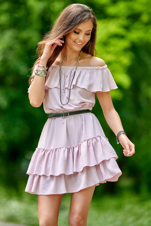 Jasnoróżowa sukienka hiszpanka z falbanką Emy 1