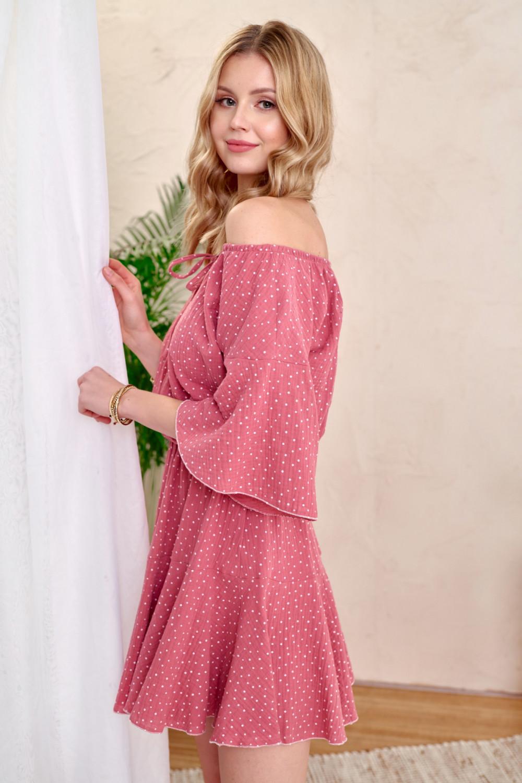 Różowa bawełniana sukienka hiszpanka z falbankami w groszki Marcelle 2