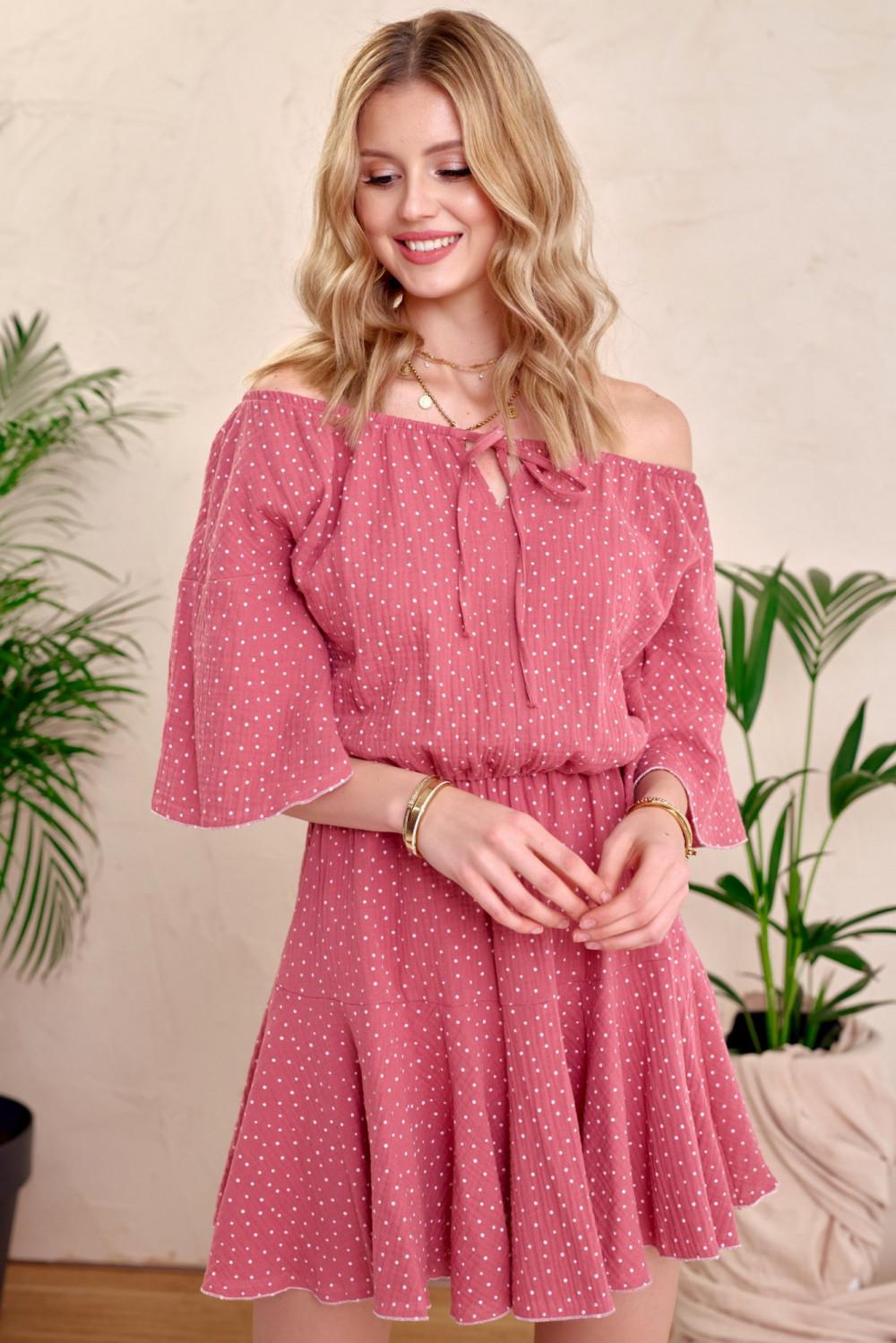 Różowa bawełniana sukienka hiszpanka z falbankami w groszki Marcelle 1
