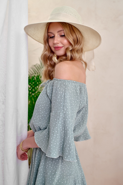 Miętowa bawełniana sukienka hiszpanka z falbankami w groszki Marcelle 2