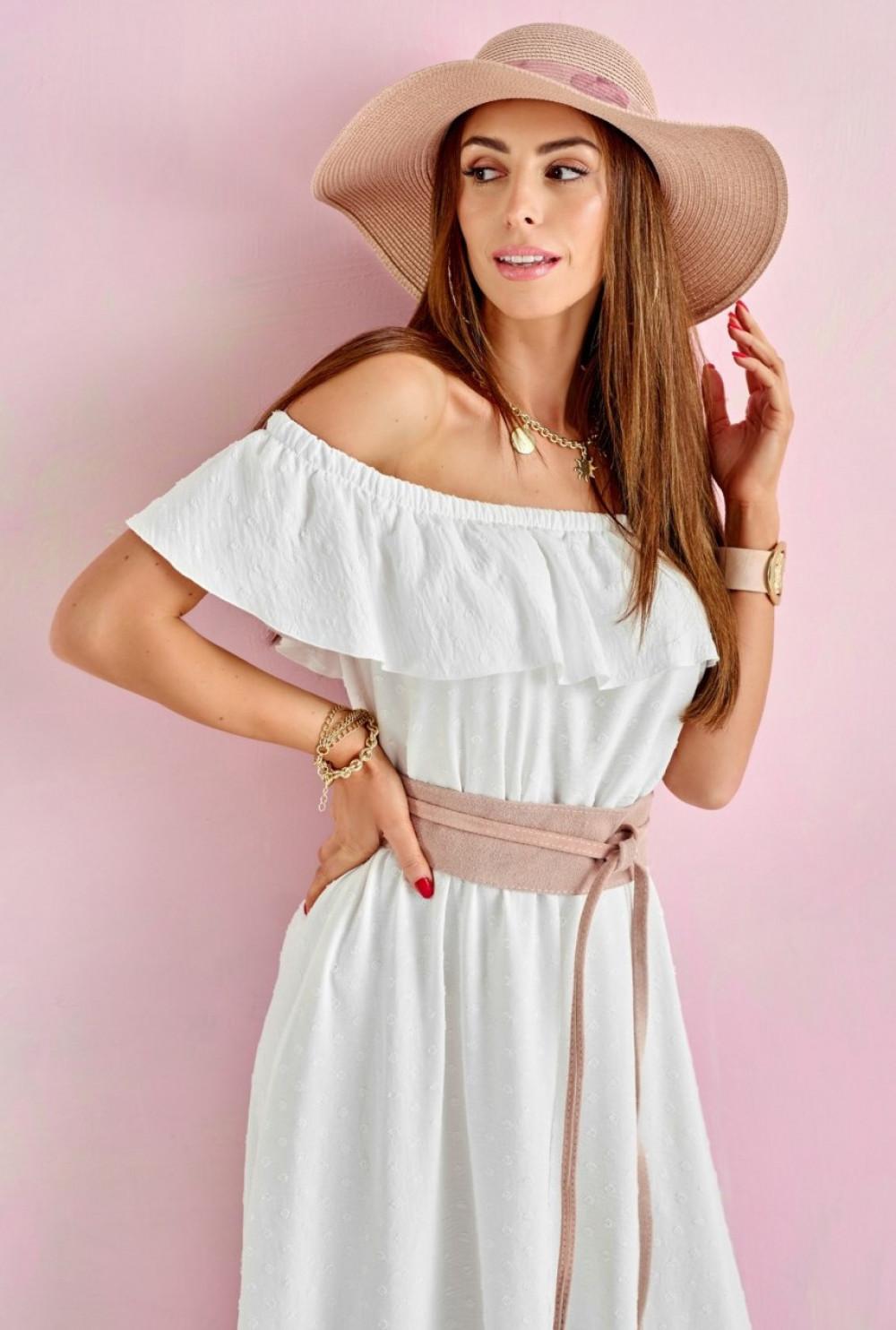 Ecru sukienka hiszpanka asymetryczna z falbankami midi Maryse 2