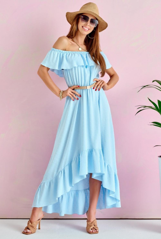 Jasnoniebieska sukienka hiszpanka asymetryczna z falbankami midi Maryse 1