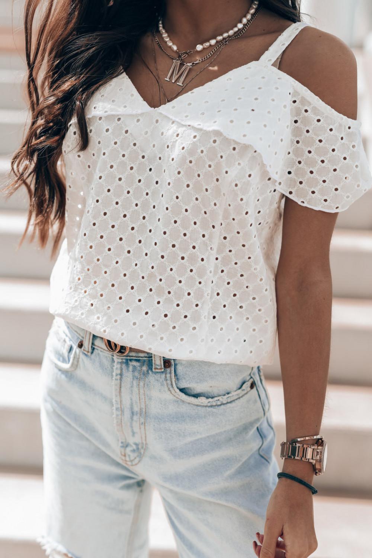 Biała bawełniana ażurowa bluzka hiszpanka Clarisse 2