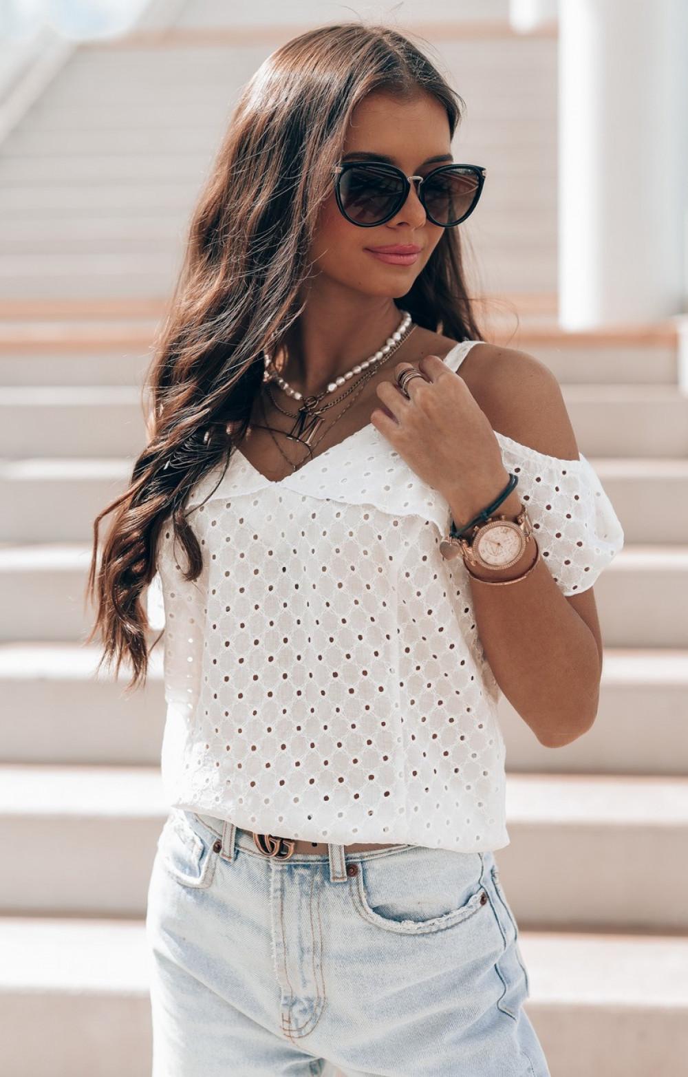 Biała bawełniana ażurowa bluzka hiszpanka Clarisse 1