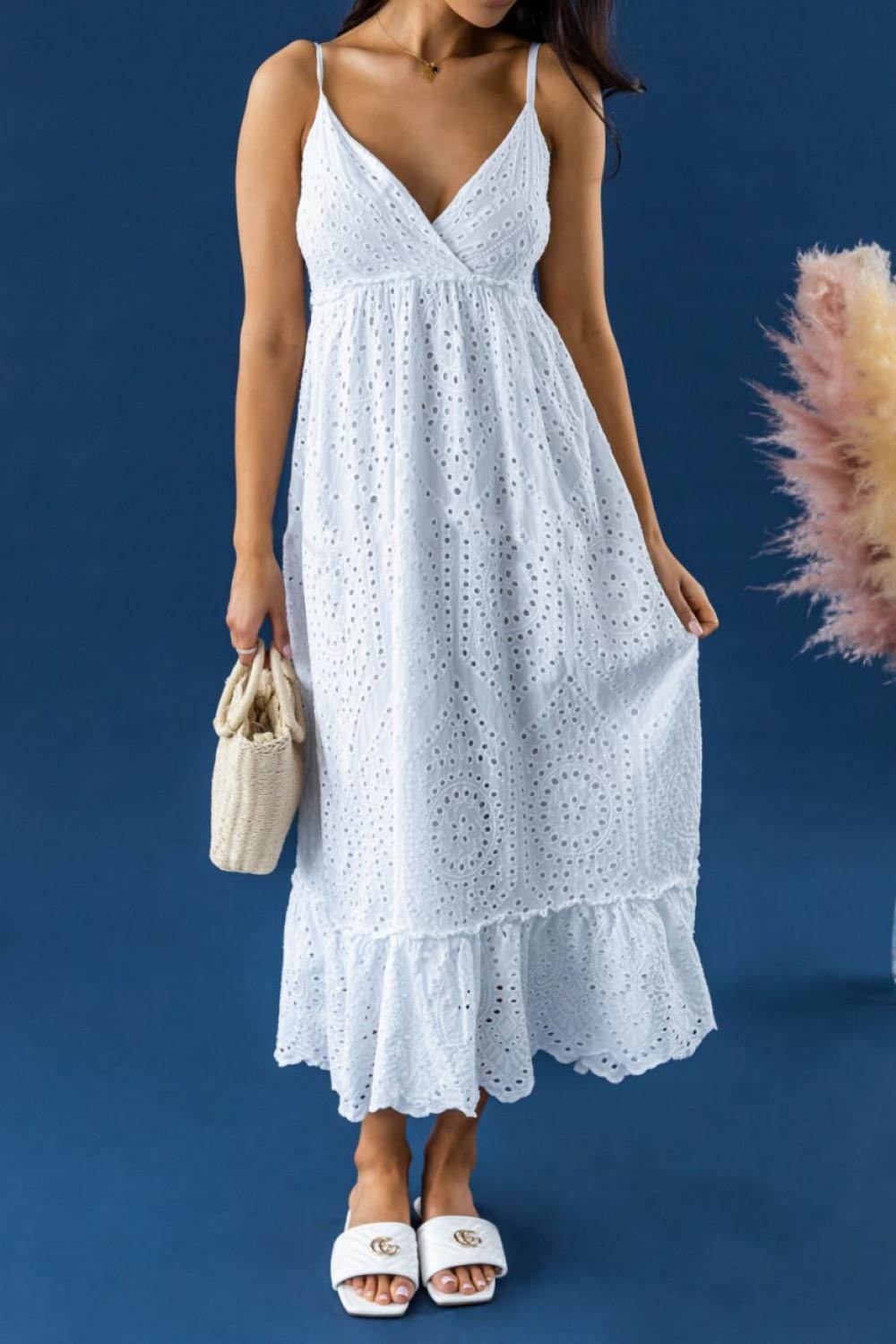 Biała ażurowa sukienka na ramiączkach V-Neck maxi Dorothe 2