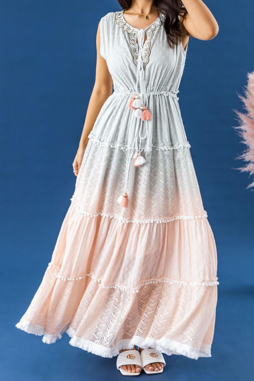 Miętowo-brzoskwiniowa sukienka ażurowa boho V-Neck maxi Martine 2