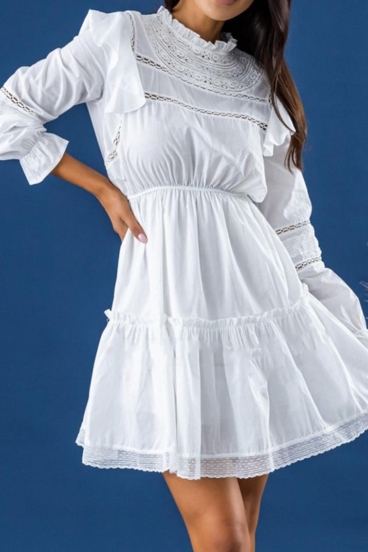Biała ażurowa sukienka rozkloszowana z falbankami Juliette 2