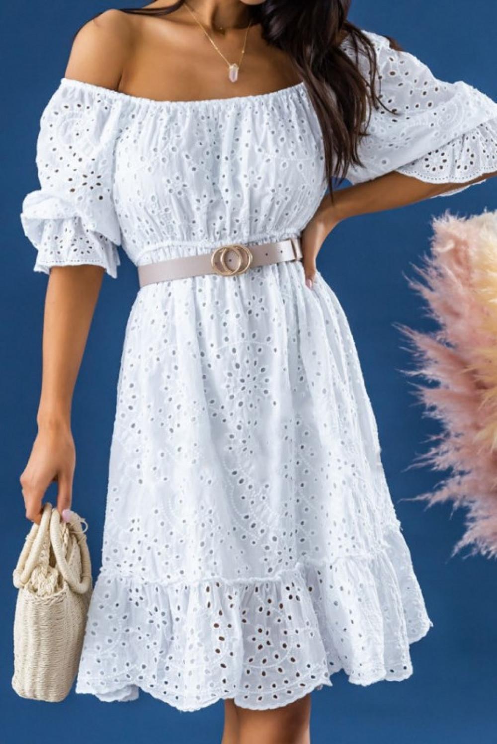 Biała ażurowa rozkloszowana sukienka hiszpanka Malvina 1