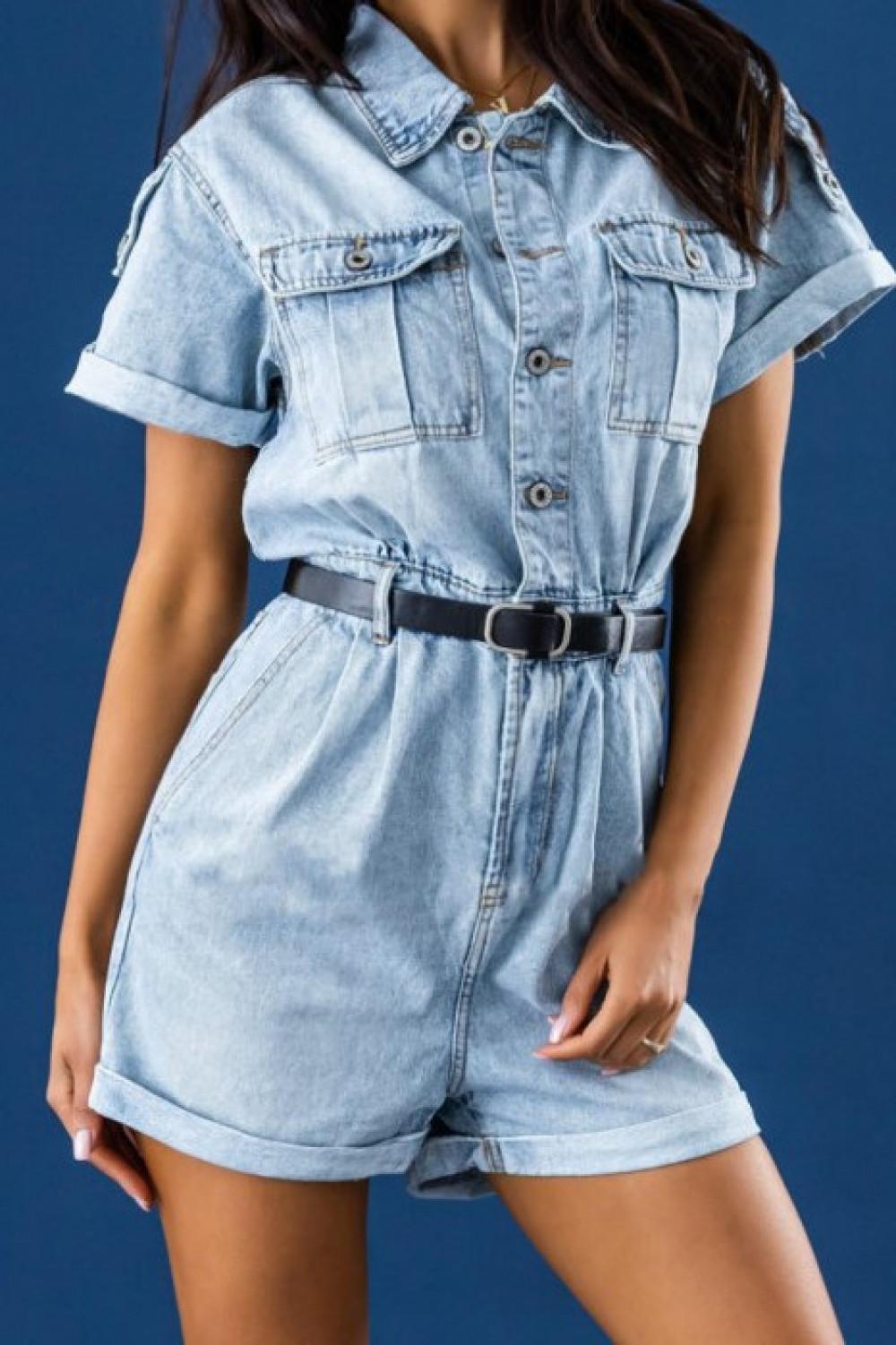 Niebieski jeansowany krótki kombinezon Hestia 2