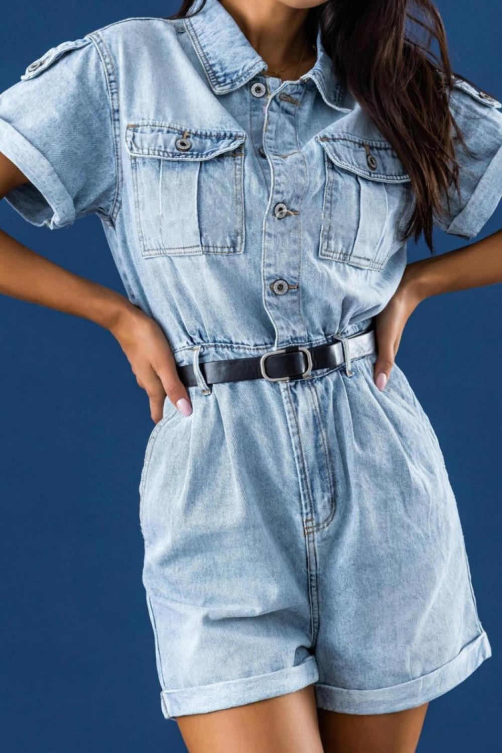 Niebieski jeansowany krótki kombinezon Hestia 3