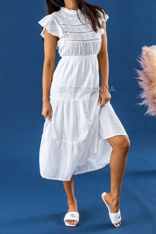 Biała długa sukienka ażurowa z falbankami maxi Grace 3