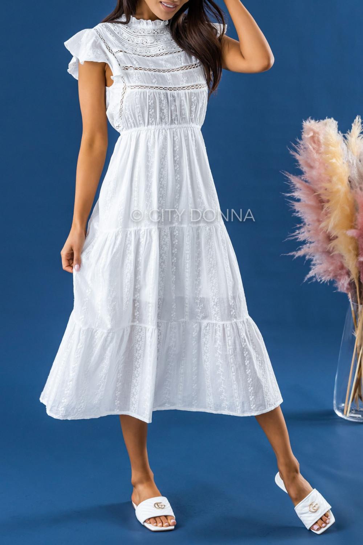 Biała długa sukienka ażurowa z falbankami maxi Grace 2