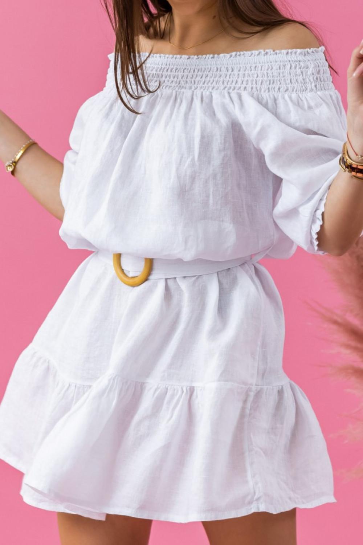 Biała rozkloszowana sukienka hiszpanka z paskiem Skyler 2