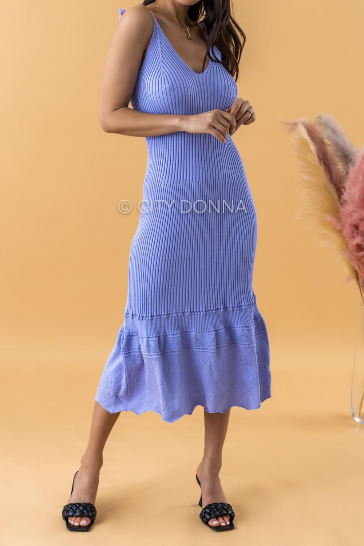Fioletowa dzianinowa sukienka z falbanką na ramiączkach midi Riley 2