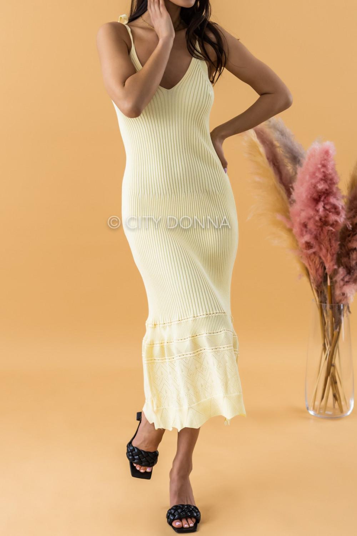 Żółta dzianinowa sukienka z falbanką na ramiączkach midi Riley 3