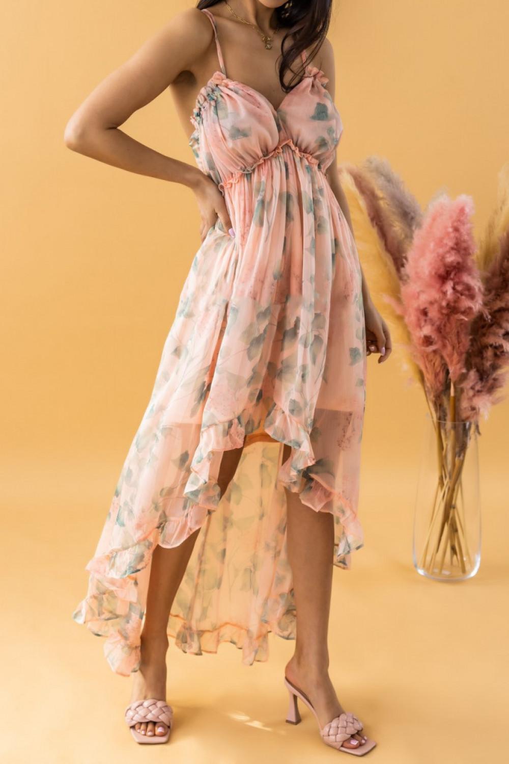 Brzoskwiniowa sukienka kwiatowa asymetryczna maxi na ramiączkach Harper 1