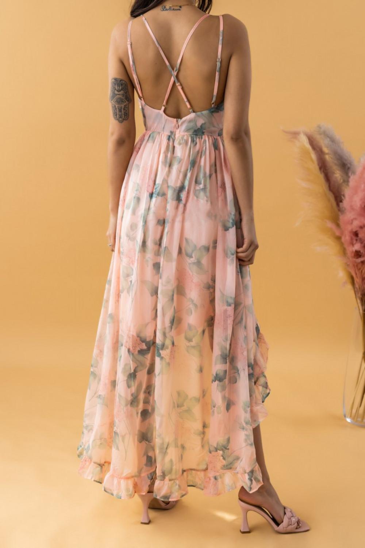 Brzoskwiniowa sukienka kwiatowa asymetryczna maxi na ramiączkach Harper 3