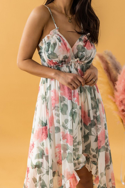 Ecru-różowa sukienka kwiatowa asymetryczna maxi na ramiączkach Harper 2