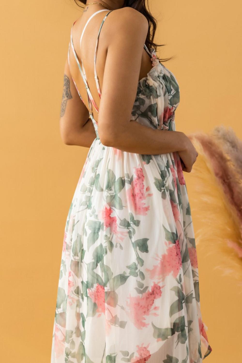 Ecru-różowa sukienka kwiatowa asymetryczna maxi na ramiączkach Harper 3