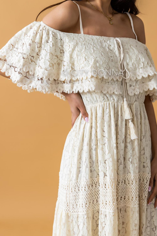 Beżowa sukienka koronkowa hiszpanka boho maxi Caterina 2
