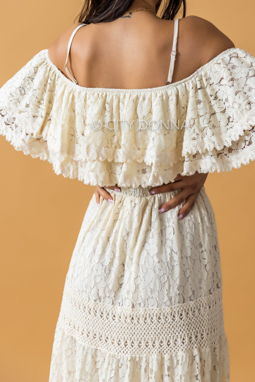 Beżowa sukienka koronkowa hiszpanka boho maxi Caterina 3