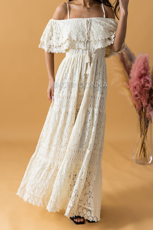 Beżowa sukienka koronkowa hiszpanka boho maxi Caterina 1