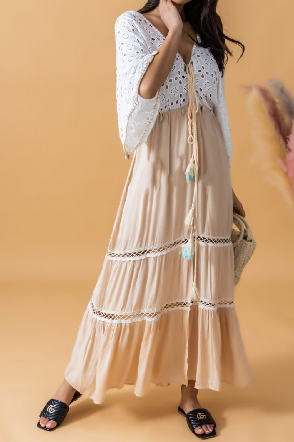 Beżowo-biała sukienka rozkloszowana boho maxi Natale 1