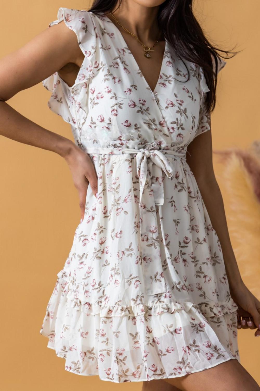 Ecru rozkloszowana sukienka kwiatowa z falbankami V-Neck Adriana 1