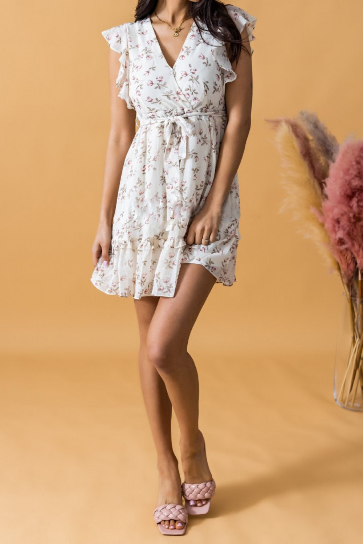 Ecru rozkloszowana sukienka kwiatowa z falbankami V-Neck Adriana 2