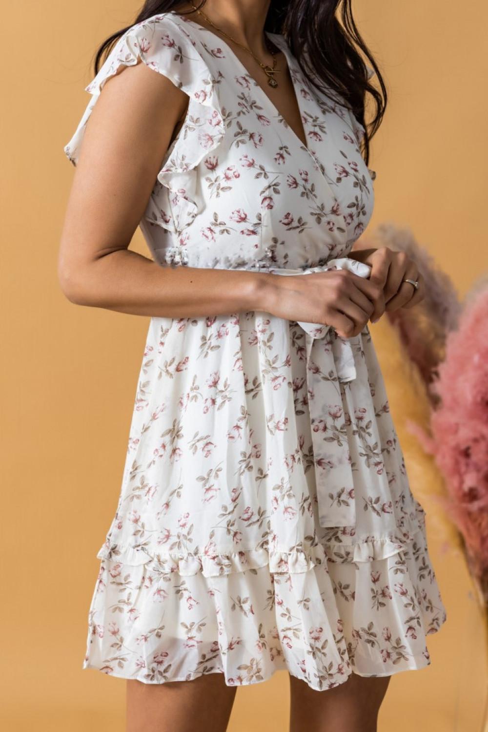 Ecru rozkloszowana sukienka kwiatowa z falbankami V-Neck Adriana 3
