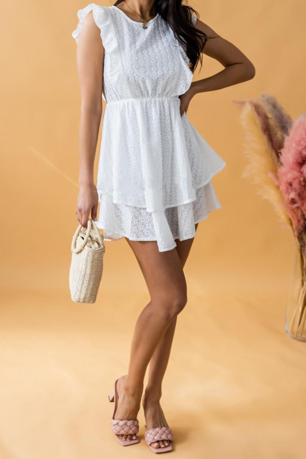 Biała rozkloszowana sukienka ażurowa z falbanką Federica 2