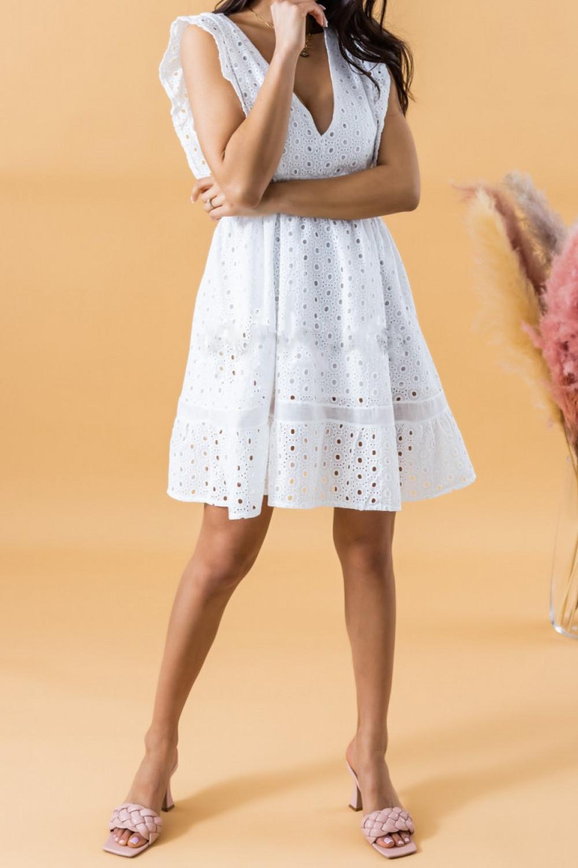 Biała rozkloszowana sukienka ażurowa V-Neck Marcja 2