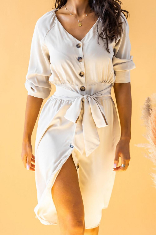 Ecru sukienka koszulowa V-Neck z wiązaniem Oriana 2