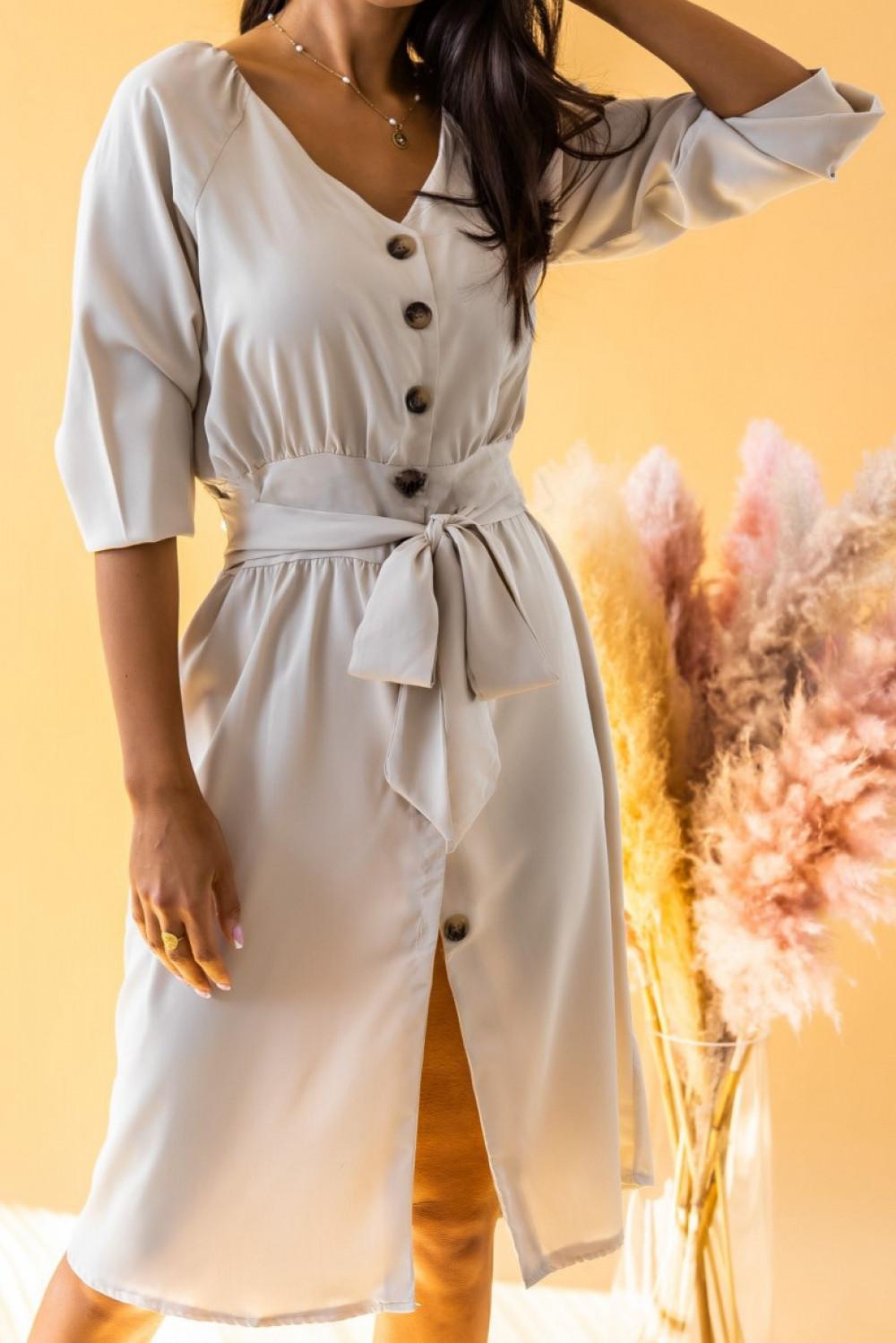 Ecru sukienka koszulowa V-Neck z wiązaniem Oriana 1