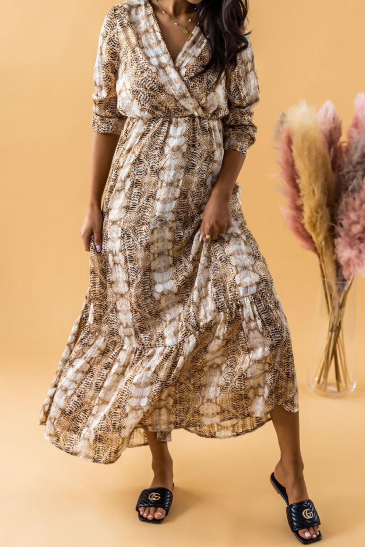 Złoto-beżowa sukienka wężowa z falbankami maxi Greta 2