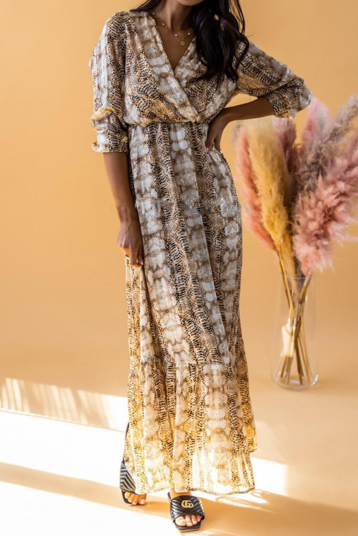Złoto-beżowa sukienka wężowa z falbankami maxi Greta 1