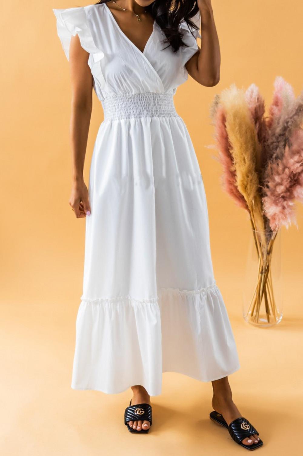 Biała długa sukienka z falbankami maxi Mia 2