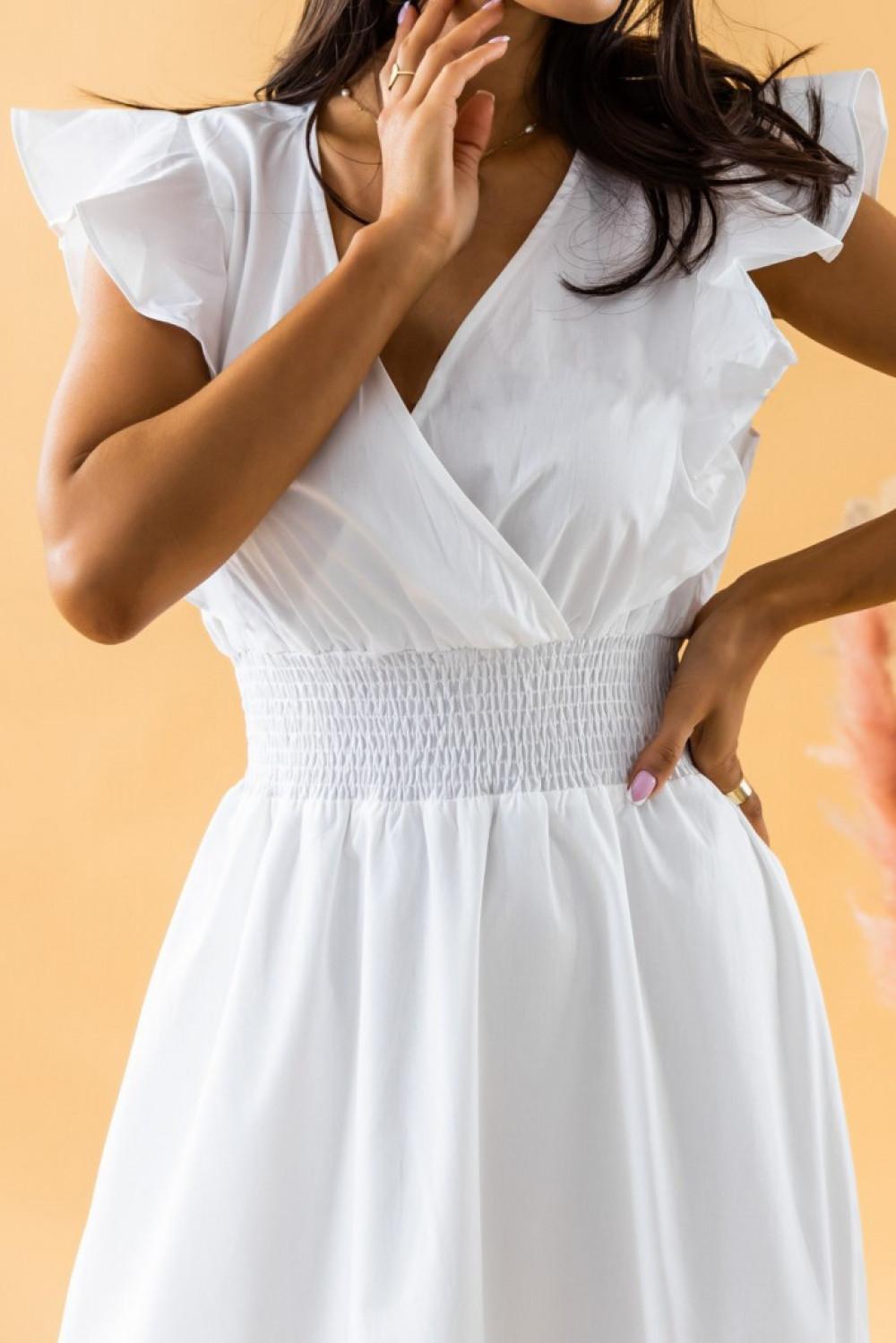 Biała długa sukienka z falbankami maxi Mia 3