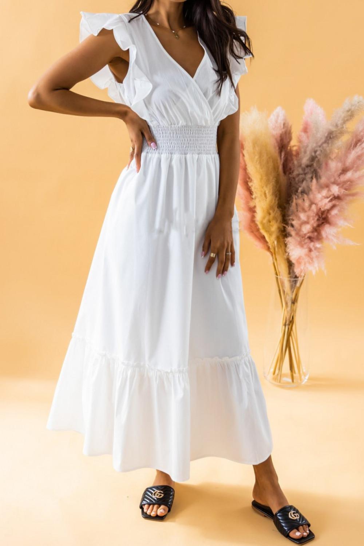 Biała długa sukienka z falbankami maxi Mia 1