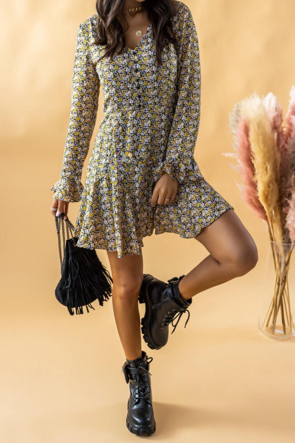 Żółta rozkloszowana boho sukienka w kwiaty Maryla 2