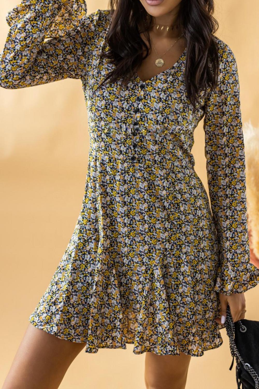 Żółta rozkloszowana boho sukienka w kwiaty Maryla 1