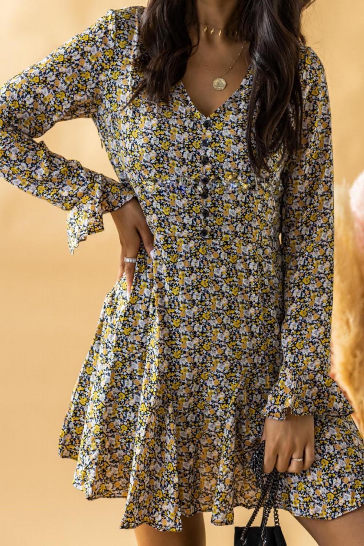Żółta rozkloszowana boho sukienka w kwiaty Maryla 3