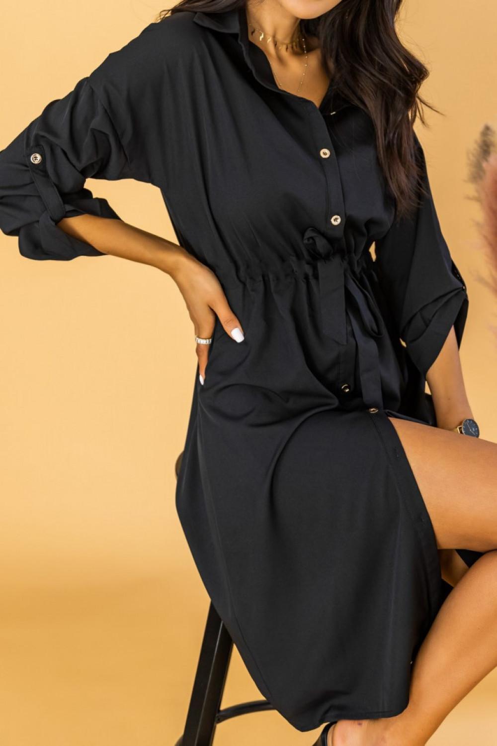 Czarna koszulowa sukienka z wiązaniem Marcelina 3