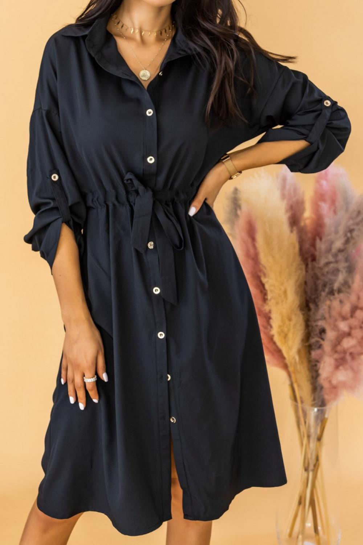 Czarna koszulowa sukienka z wiązaniem Marcelina 1